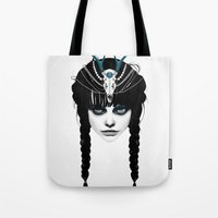 hair Tote Bags featuring Wakeful Warrior - In Blue by Ruben Ireland