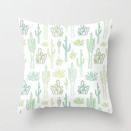 Green cactus pattern Throw Pillow