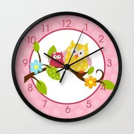 Happy Tree Owl - Pink Wall Clock