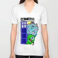 monsters inc V-neck T-shirts featuring Monsters in Time and Space! Doctor Who Meets Monsters Inc. University by beetoons