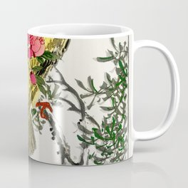 Chinese Bush-warbler and Drooping Peach iIllustration from Pictorial Monograph of Birds (1885) by Nu Coffee Mug
