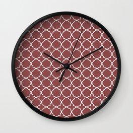 Vintage burgundy white elegant moroccan quatrefoil Wall Clock