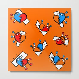 Hearts with Stitches - Blue Red Orange - Orange Metal Print