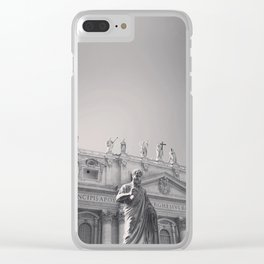 St. Peter's Basilica, Vatican City, Rome, architecture photography, black & white, Baroque Clear iPhone Case