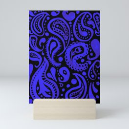 Handpainted Paisley Pattern Purple and Black Color Mini Art Print