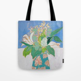 Lily and Eucalyptus Bouquet in Blue and Peach Floral Vase Tote Bag