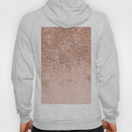 Girly blush coral faux rose gold glitter marble Hoody