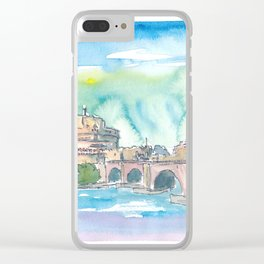 Rome Italy Castel Sant'Angelo Evening with Bridge Clear iPhone Case