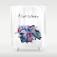 supreme Shower Curtains featuring A love Supreme by helenacionart