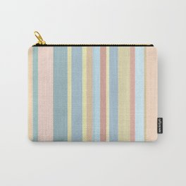 bisque and lavender blue colored striped Carry-All Pouch