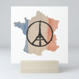 Outline of France with Tri-color Peace Mini Art Print