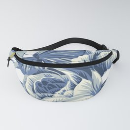 Blue & White Pretty Floral & Butterfly Fanny Pack