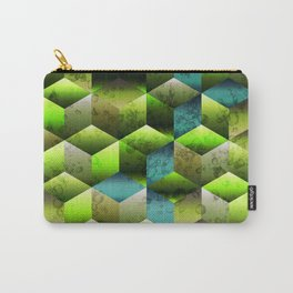 Soft gradient cubes with green colors Carry-All Pouch
