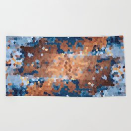 Copper and Denim Abstract Beach Towel