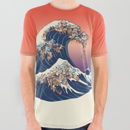 The Great Wave of Dachshunds All Over Graphic Tee