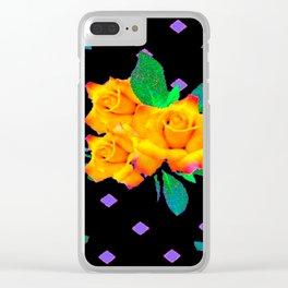 Black & Violet Golden Roses Pattern Clear iPhone Case