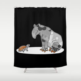 Tapir meets Turtle, Cute Animal Illustration, Black & White with Copper Metallic Accent Funny Turtle Shower Curtain