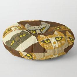 Cat Pattern Japanese, Cat, Cubism, Woodblock Print, Cherry Blossom, Midcentury, Modern Floor Pillow