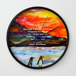 Inspirational Finding Your Love Quote With Penguins Painting Wall Clock