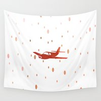 plane Wall Tapestries featuring The plane by Yasmina Baggili