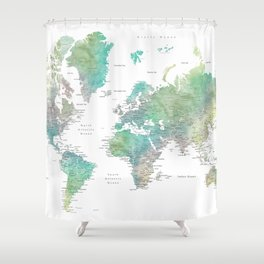 Watercolor world map in muted green and brown Shower Curtain