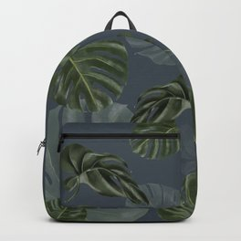 monstera navy pattern Backpack