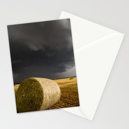 Spinning Gold - Storm Over Hay Bales in Kansas Field Stationery Cards