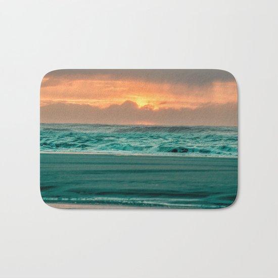 Turquoise Ocean Pink Sunset Bath Mat