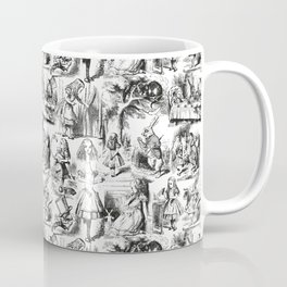 Alice in Wonderland | Toile de Jouy Pattern | Black and White | Vintage Pattern | Victorian Gothic | Coffee Mug