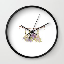 Herbs in Pastel Color Pink Bouquet Wall Clock