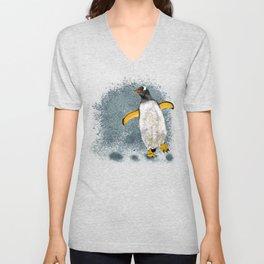 Penguin Charly - White Unisex V-Neck