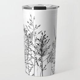 Wild flowers. Black and white Travel Mug