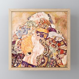 Baby by Gustav Klimt 1908 // Color Enhanced Oil Canvas Painting of Child Covered in Colorful Fabrics Framed Mini Art Print