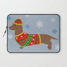 Dachshund through the snow - christmas jumper Laptop Sleeve
