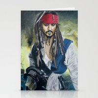 jack sparrow Stationery Cards featuring Captain Jack Sparrow by TamLikon