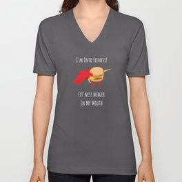 I'm Into Fitness Fit'ness Burger In My Mouth Unisex V-Neck