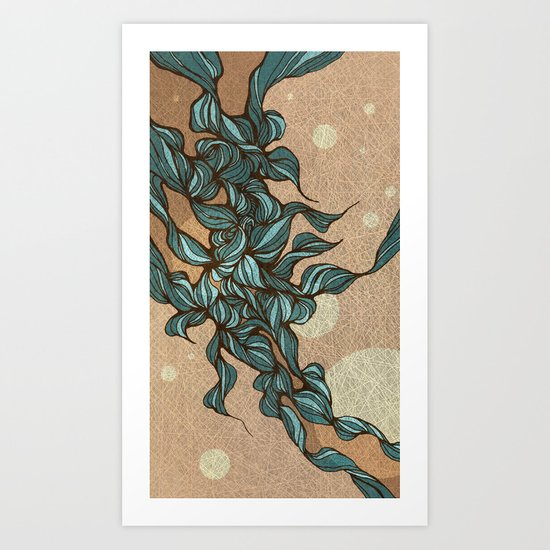 Waves #4 beige Art Print
