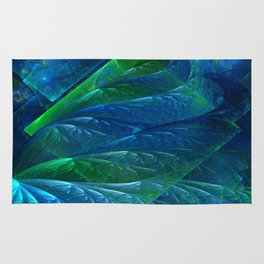 Sea Glass 3D Flame Fractal Rug