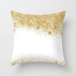 Sparkling golden glitter confetti effect Throw Pillow