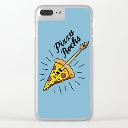 Pizza Rocks - Guitar Slice Clear iPhone Case
