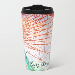 """Enjoy the journey"" giant, colorful carnival ferris wheel Travel Mug"