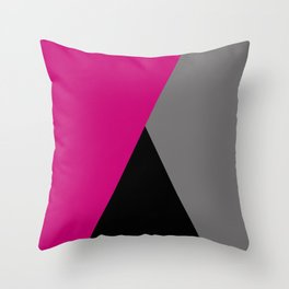 Geometric design in hot pink grey & black Throw Pillow