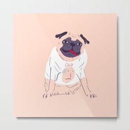 little pug wearing a t-shirt Metal Print
