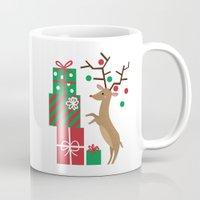 reindeer Mugs featuring Reindeer by Reg Silva / Wedgienet.net