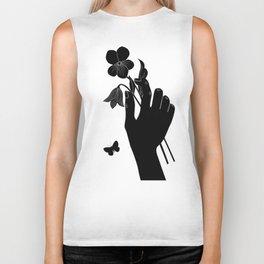Black Hand Holding Flowers Biker Tank