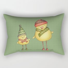 Two Chicks - green Rectangular Pillow