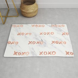XOXO Text Rose Gold on Marble Rug