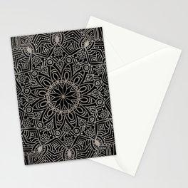 Beautiful hand drawn silver mandala on black Stationery Cards