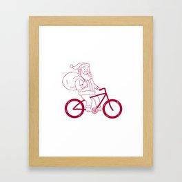 Santa Claus Riding Bicycle Side Cartoon Framed Art Print