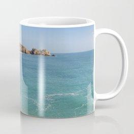 Turquoise sea at Porthcurno Beach in Cornwall, South England Coffee Mug